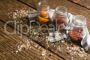 Three jars with various breakfast