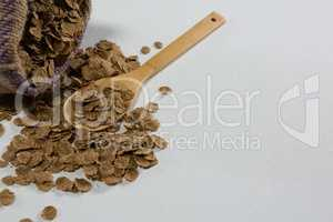 Granola spilled on spoon