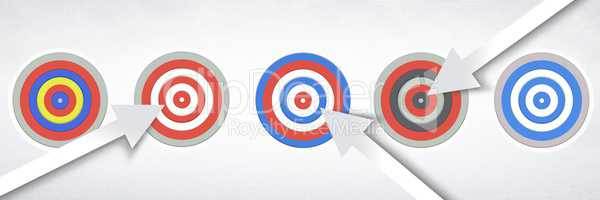 Row of five Targets with arrows