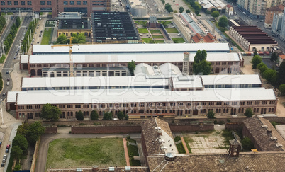 Aerial view of OGR (Officine Grandi Riparazioni) train repair shop in Turin