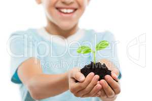 Handsome smiling child boy holding soil growing green sprout lea