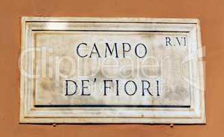 Campo de Fiori sign of in Rome