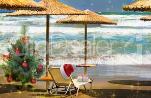 Christmas beach: a deck chair, tree and hat of Santa Claus. 3 D visualization.