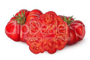 Whole and part of heirloom tomatoes