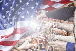 Independence Day. Happy Americans celebrate Independence Day amid the American flag. Double exposure