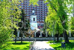 Orthodox Church near the Tretyakov gallery in spring