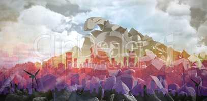 Composite image of artistic cityscape design