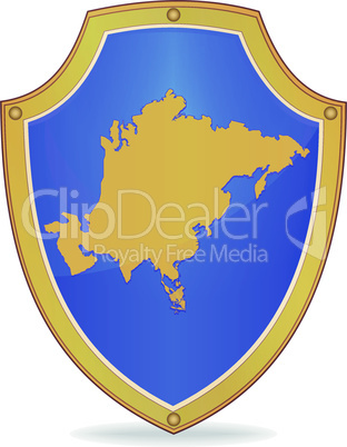Shield with silhouette of Asia
