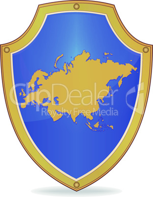 Shield with silhouette of Eurasia