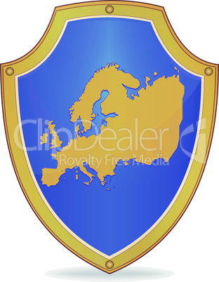 Shield with silhouette of Europe