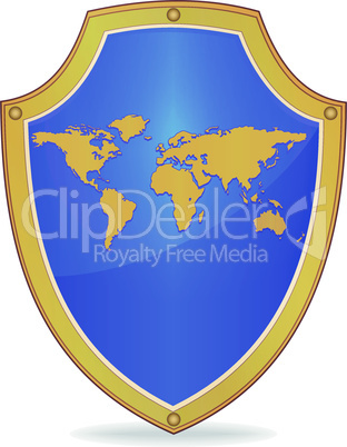 Shield with silhouette of map the world