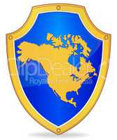 Shield with silhouette of North America