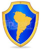 Shield with silhouette of South America