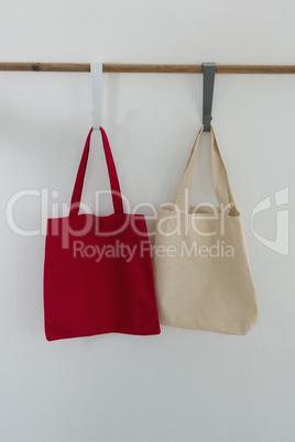Bags hanging on hook