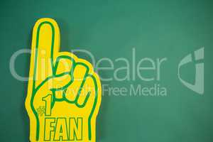 Foam hand on green background