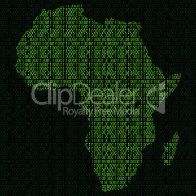 Silhouette of Africa from binary digits