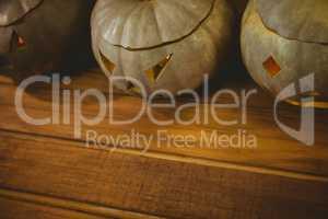 Jack o lanterns arranged during Halloween