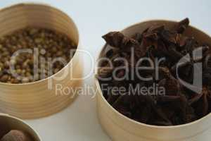 Star anise and coriander seed in bowl