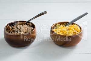 Wheat flakes and wheaties cereal in bowl
