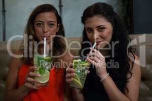 Portrait of happy friends drinking mocktail