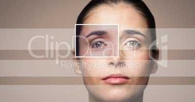 woman with eye focus box detail and lines