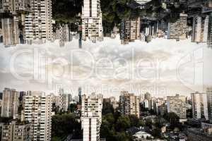 City against blue sky