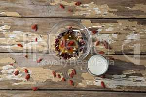 Breakfast cereals and milk on wooden table