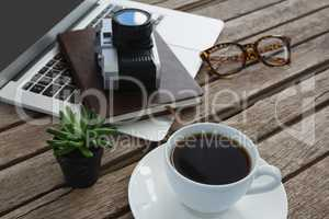 Black coffee, camera, pot plant, spectacles, organizer and laptop on wooden plank