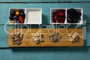 Assortment of breakfast cereals, yogurt and fruits
