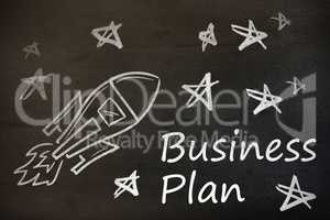 Composite image of digital image of rocket and star shapes with business plan text