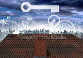 Key and interface over roof and city