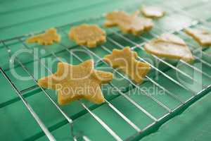 Close up of cookies on cooling rack