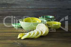 Bowls and sliced lime