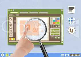 Hand touching Magnifying glass over digital art editor window on Paper cut out desktop