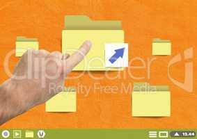 Hand touching Folders on Paper cut out desktop