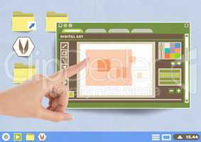 Hand touching Digital art editor window and Folder and files icons on Paper cut out desktop