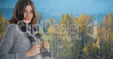 Woman in Autumn with scarf in forest