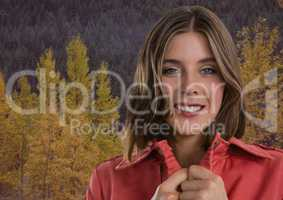 Woman in Autumn with jumper tight in forest