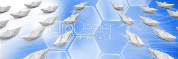 Paper boats with blue background