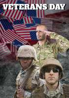 veterans day soldiers in front of flag