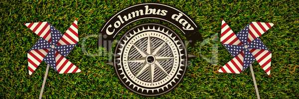 Composite image of big brown logo for event american event colombus day