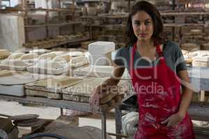Confident female potter standing in pottery workshop