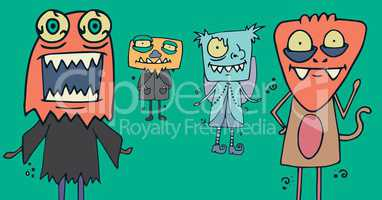 Monster illustrations in Halloween costumes