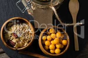 Bowl of cape gooseberry and muesli