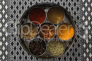 Various spices in a container