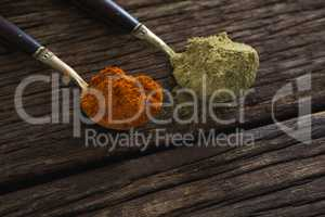 Red chili powder and coriander powder on a wooden table