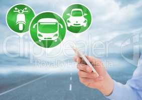 Transport Icons and hand with phone on road