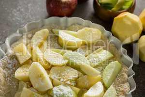 Slice of apple on tart with icing sugar