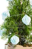 Christmas tree with decoration against white background