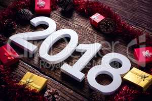 Numbers surrounded with christmas decoration